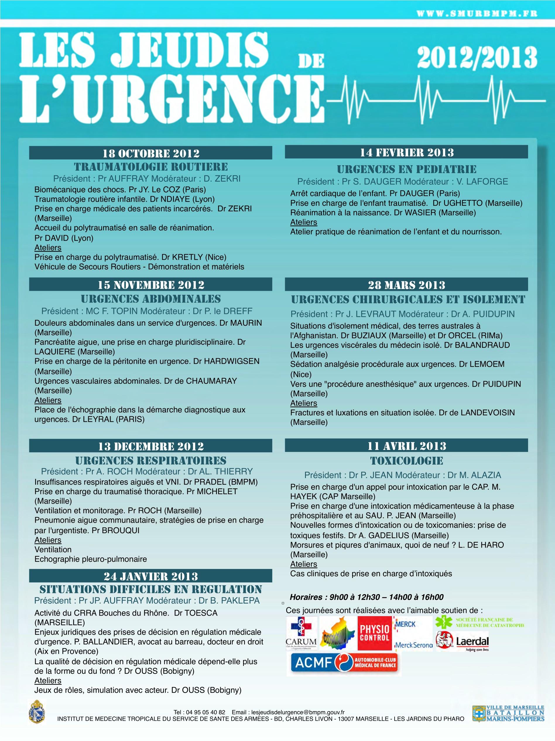 Archives « Les Jeudis de l'Urgence » 2012-2013 – MERMED BMPM