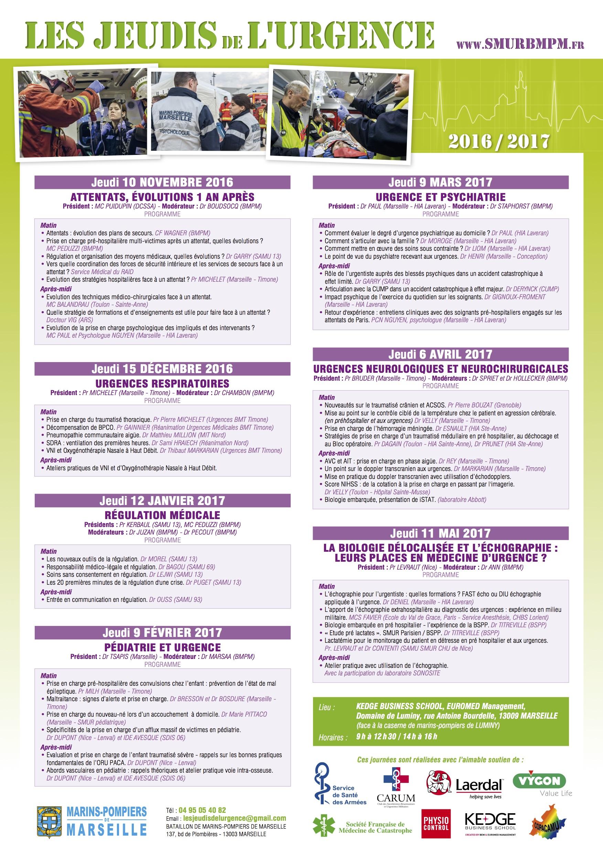 Le programme 2016-2017 des Jeudis de l'Urgence
