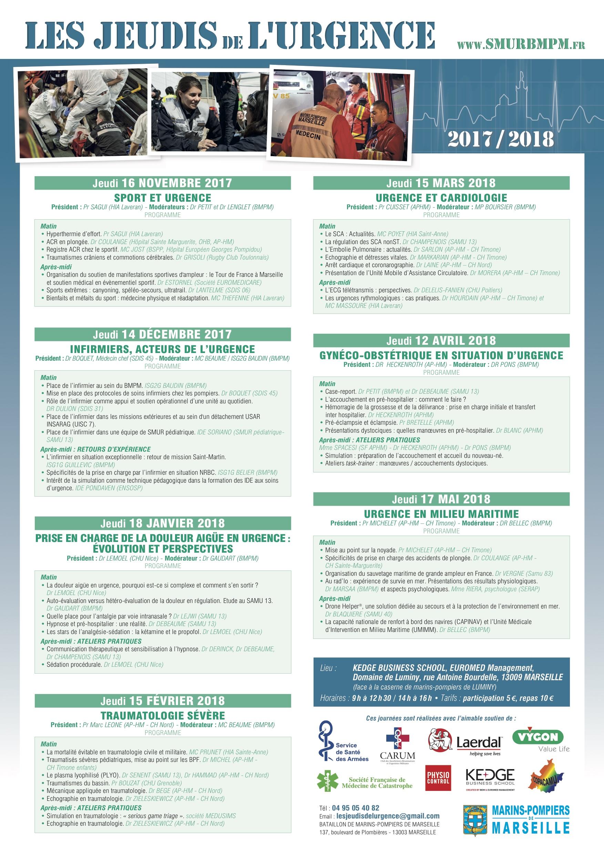 Le programme 2017-2018 des Jeudis de l'Urgence