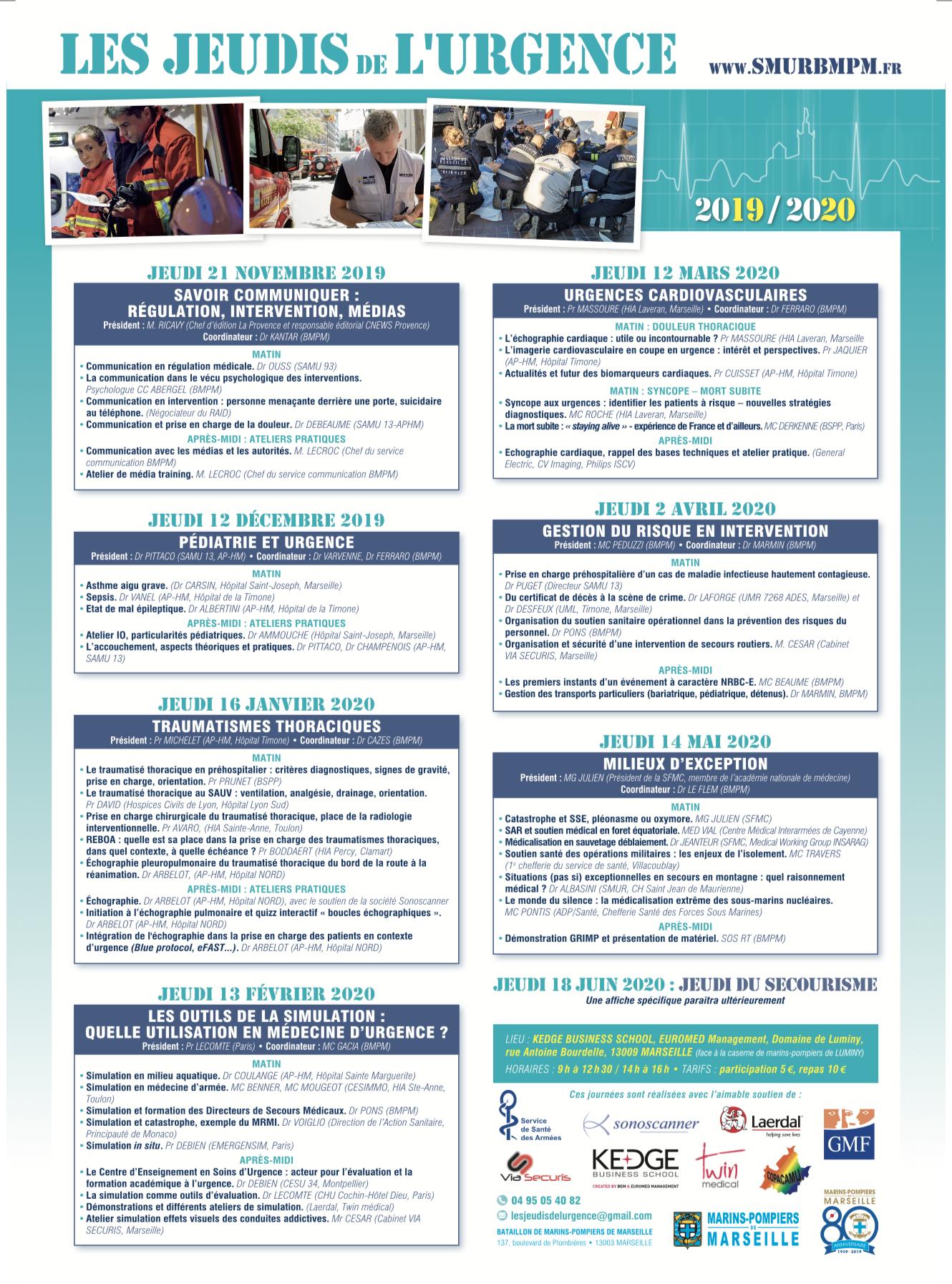 Le programme 2019-2020 des Jeudis de l'Urgence